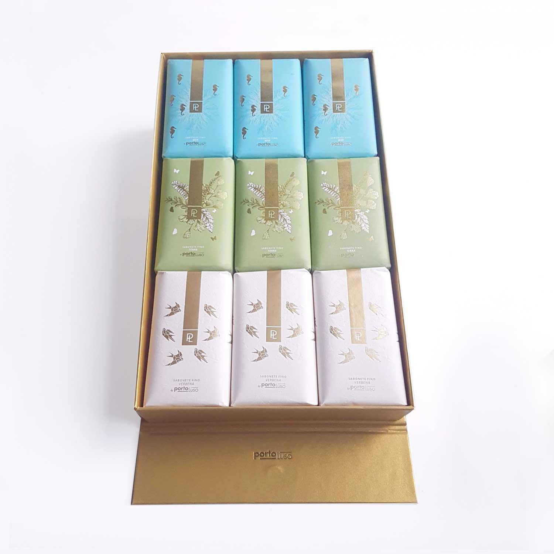 caixa 9 sabonetes expositora natureza